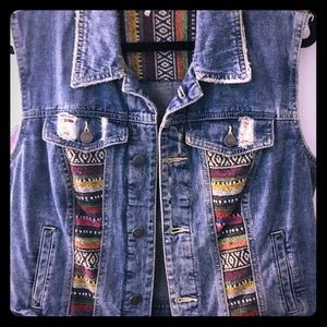 Free People Denim Boho Jean Vest price Firm !